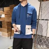 中大尺碼男款連帽衛衣休閒港風寬鬆學生連帽上衣T恤2019秋季多口袋衣服 PA11115『男人範』
