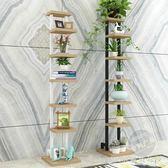 創意書架樹形一字層架置物架落地花架子小鋼木架現代簡約裝飾架窄『CR水晶鞋坊』YXS