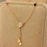 玫瑰金鑲鑽純銀項鍊-精美愛心時尚生日情人節禮物女飾品71x103【巴黎精品】
