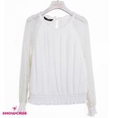 【SHOWCASE】甜美圓領蕾絲袖拼接細褶縮襬雪紡上衣