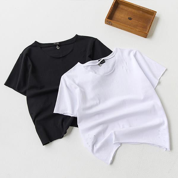 現貨-T恤-接繩數字5割破短袖圓領上衣 Kiwi Shop奇異果0616【SOJ3410】