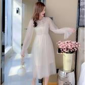 VK精品服飾 韓系超仙喇叭袖氣質網紗拼接蕾絲長袖洋裝