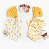 滿版水果圖案短袖三角包屁衣 附帽子 短袖包屁衣 連身衣 嬰兒裝 包屁衣