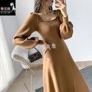 法式方領針織洋裝女2021秋冬季新款中長款泡泡袖百搭打底裙 新年禮物