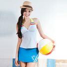 美美小插圖條紋簡約設計  肩吊綁帶式設計/內裏含一件藍色泳褲  穿搭插圖泳裝讓您走在時尚最前端