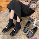 ins女鞋新款單鞋女低跟百搭一腳蹬樂福鞋學生復古英倫小皮鞋【公主日記】