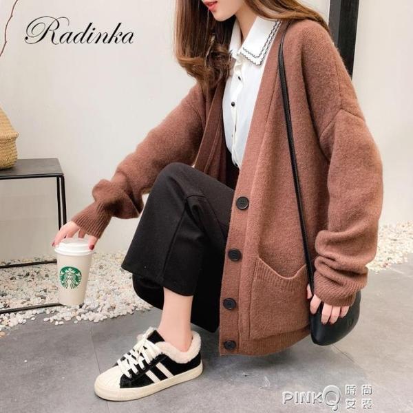 新款寬鬆加大碼針織衫上衣外套女學生韓版慵懶風外搭毛衣開衫 pinkQ 時尚女裝