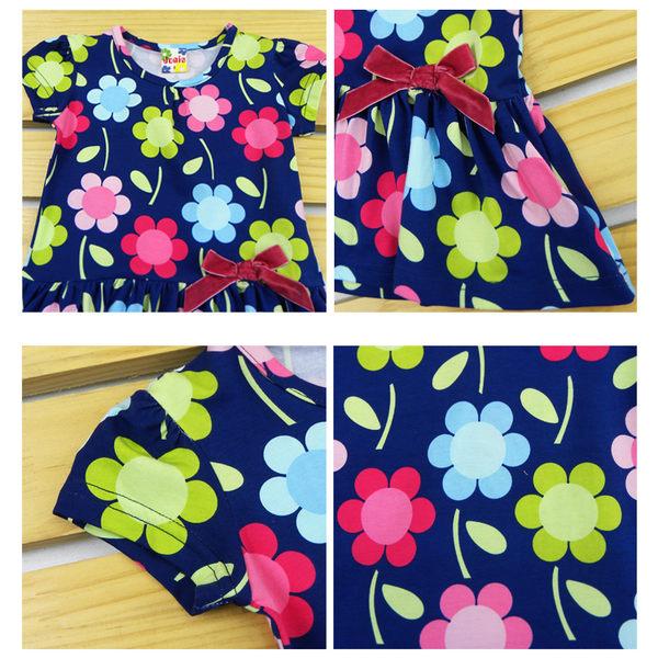 洋裝 連身衣 短袖 女童 藍底 滿版彩花