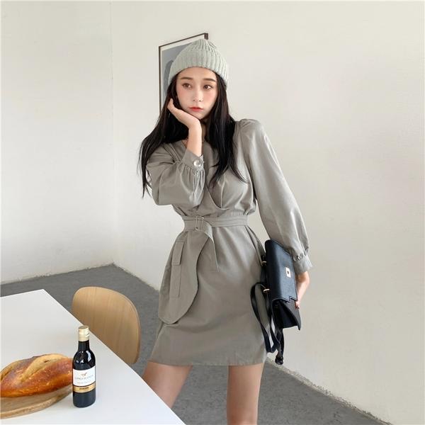 出清388 韓國風名媛腰帶系腰不規則口袋顯瘦長袖洋裝