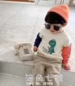 男童秋裝連帽T恤春秋新款拼接印花套頭衫打底衫潮 海角七號