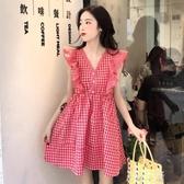 裙法式初戀2020春夏季新款女裝裙子荷葉邊寬鬆格子過年洋裝 米娜小鋪