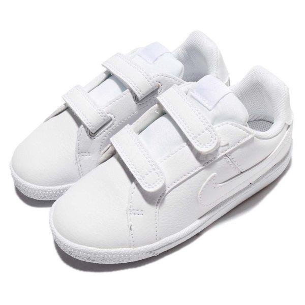 Nike 休閒鞋 Court Royale TDV 全白 皮革 基本款 魔鬼氈 童鞋 小童鞋【PUMP306】 833537-102