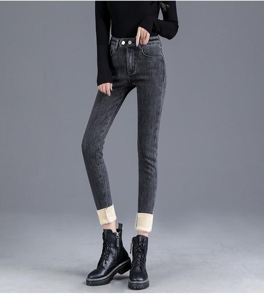EASON SHOP(GW8901)實拍復古彈力包臀做舊磨白刷毛加絨加厚收腰牛仔褲休閒褲高腰貼腿褲小腳褲鉛筆褲