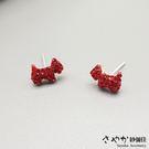 【Sayaka紗彌佳】925純銀祈願紅線系列 好運汪星人紅鑽耳環