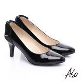A.S.O 甜蜜樂章 全真皮後跟蝴蝶結尖楦高跟鞋 黑