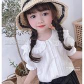 女童襯衫女童白色娃娃領襯衫小女孩韓版洋氣時髦上衣潮寶寶夏兒童短袖襯衣 快速出貨