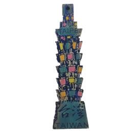【收藏天地】台灣紀念品*木質冰箱貼-彩色大樓