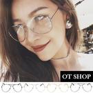 OT SHOP眼鏡框韓星顯小臉中性歐美潮流雷朋平光眼鏡鼻墊黑框/槍灰框/銀白框金框‧現貨‧NS11
