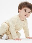 Gap 嬰兒男嬰 粗棒針織長袖一件式包屁衣 473851-米白色