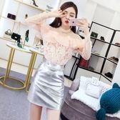 2018秋裝新款韓版網紗長袖拼接荷葉邊上衣高腰亮光包臀半身裙套裝