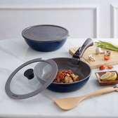 HOLA 可拆式陶瓷不沾導磁煎炒鍋5件組-藍