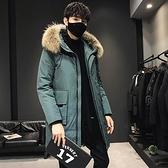 羽絨外套-白鴨絨連帽毛領休閒長版男夾克2色73zd9【巴黎精品】