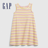 Gap 女幼童 時尚碎花印花無袖洋裝 576315-黃色條紋