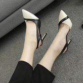 新款時尚中跟包頭尖頭涼鞋