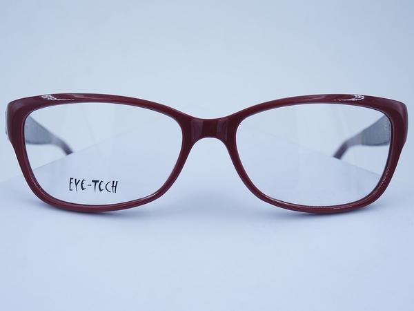 EYE TECH 3639 方框 膠框 眼鏡 日本製 亞洲鼻墊 淑女款 皮革紋 金屬裝飾款