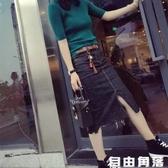 歐洲站秋裝新款黑色牛仔半身裙女下擺毛邊開叉中長款包臀一步裙潮 自由角落