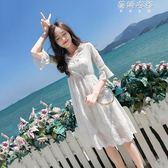 沙灘裙女裝夏蕾絲連身裙初戀裙小個子超仙海邊度假裙 蓓娜衣都
