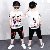 中大男童潮品套裝 大童嘻哈休閒運動兩件套 2019男夏季新款