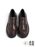 厚底單鞋女鞋樂福鞋復古小皮鞋 棕色 黑色【君來佳選】