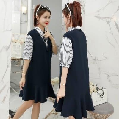 韓國學院風七分袖洋裝短裙XL4XL中大尺碼24162夏裝新款假兩件胖妹妹顯瘦連衣裙皇潮天下