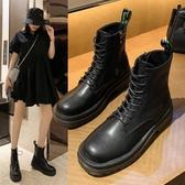 超酷網紅馬丁靴女夏季新款透氣小香風系帶厚底增高瘦瘦騎士靴 全館免運