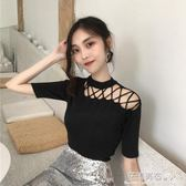 夏裝新款韓版Chic鏤空綁帶氣質斜肩上衣純色修身針織衫短袖T恤女·花漾美衣