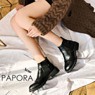 短靴.典雅雕花純色耐走短靴【KY5522】(黑/棕)