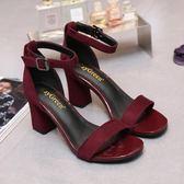 女夏新款韓版中跟一字扣羅馬高跟涼鞋PLL4674【3C環球數位館】