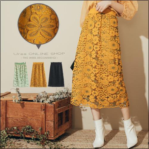 URES 復古蕾絲雕花雙層兩面穿針織中長裙 淋雨/小予直播穿搭款【881018498】