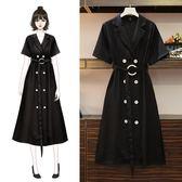 海外直發不退換法式洋裝小禮服98078洋氣連衣裙大碼女裝長裙夏裝顯瘦遮肚200斤減齡(M3F 特1-A)