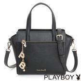 PLAYBOY- 2WAY手提包 Pure Color 純色獻禮系列-優雅黑