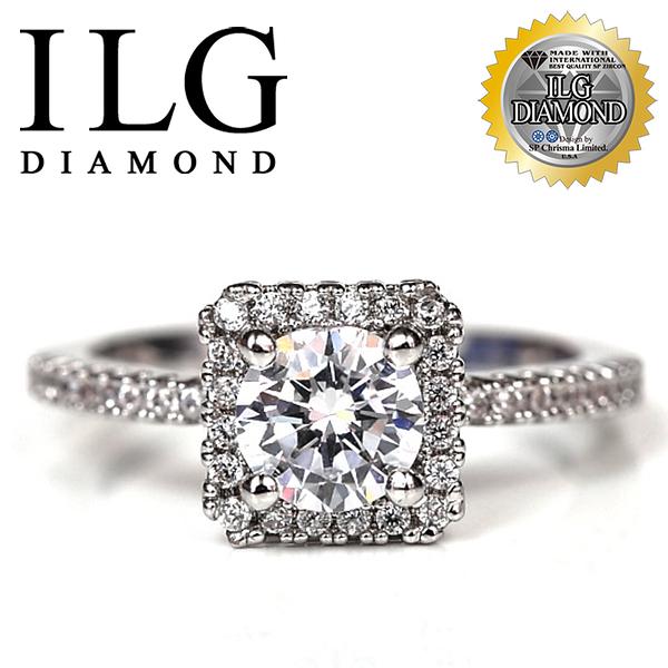 【ILG鑽】頂級八心八箭擬真鑽石戒指 視覺方鑽 - RI054- 主鑽約75分 獨特人氣款 戴起來真的超好看!