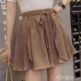 鬆緊腰雪紡短裙女夏季高腰寬鬆褲裙a字半身裙褲 港仔會社