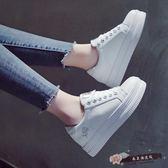 鬆糕厚底小白鞋女韓國百搭皮面帆布鞋女內增高學生板鞋女 「尚美潮流閣」 七夕情人節