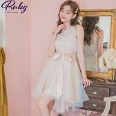 洋裝 透膚蕾絲桃心領前短後長綁帶無袖洋裝-Ruby s 露比午茶