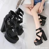 性感羅馬涼鞋女夏2020新款歐美風細帶厚底粗跟超高跟鞋夜店13CM高