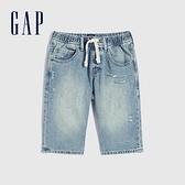Gap男童 時尚純棉做舊牛仔短褲 570834-水洗藍