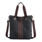 帆布手提包-條紋托特包大容量通勤女肩背包...