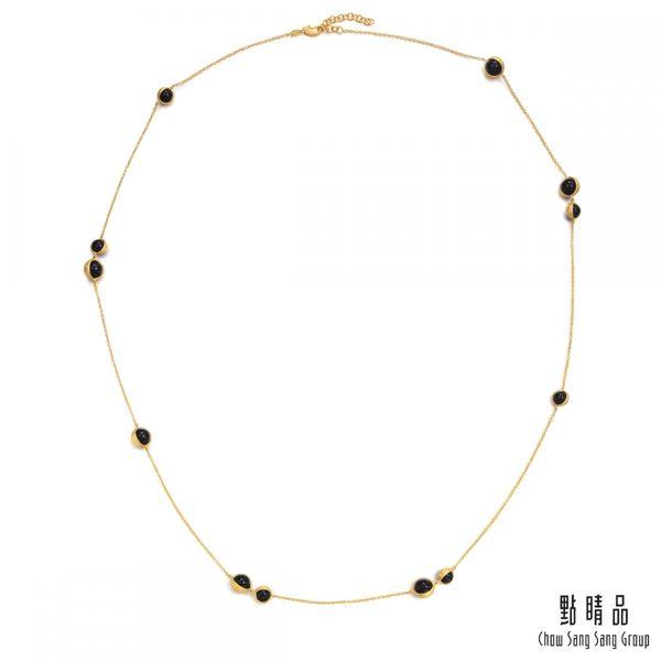 點睛品 g*collection系列 圓形黑玉髓黃金項鍊