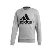 adidas 長袖T恤 MH BOS Sweatshirt 灰 黑 男款 大學T 運動休閒 【ACS】 EB5263